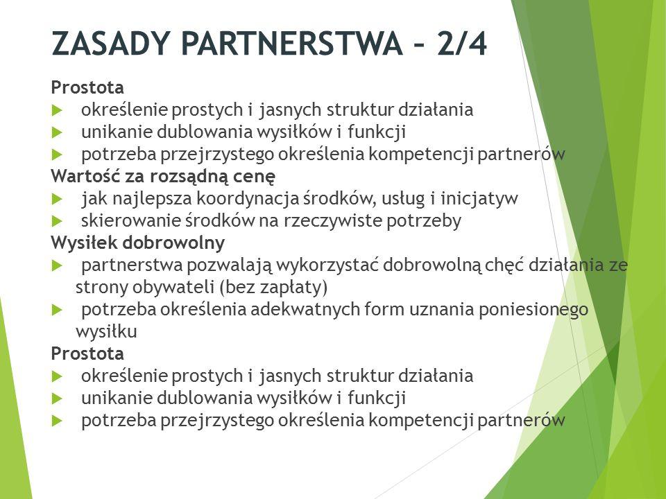 ZASADY PARTNERSTWA – 2/4 Prostota  określenie prostych i jasnych struktur działania  unikanie dublowania wysiłków i funkcji  potrzeba przejrzystego określenia kompetencji partnerów Wartość za rozsądną cenę  jak najlepsza koordynacja środków, usług i inicjatyw  skierowanie środków na rzeczywiste potrzeby Wysiłek dobrowolny  partnerstwa pozwalają wykorzystać dobrowolną chęć działania ze strony obywateli (bez zapłaty)  potrzeba określenia adekwatnych form uznania poniesionego wysiłku Prostota  określenie prostych i jasnych struktur działania  unikanie dublowania wysiłków i funkcji  potrzeba przejrzystego określenia kompetencji partnerów