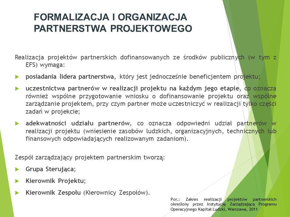 FORMALIZACJA I ORGANIZACJA PARTNERSTWA PROJEKTOWEGO Realizacja projektów partnerskich dofinansowanych ze środków publicznych (w tym z EFS) wymaga:  posiadania lidera partnerstwa, który jest jednocześnie beneficjentem projektu;  uczestnictwa partnerów w realizacji projektu na każdym jego etapie, co oznacza również wspólne przygotowanie wniosku o dofinansowanie projektu oraz wspólne zarządzanie projektem, przy czym partner może uczestniczyć w realizacji tylko części zadań w projekcie;  adekwatności udziału partnerów, co oznacza odpowiedni udział partnerów w realizacji projektu (wniesienie zasobów ludzkich, organizacyjnych, technicznych lub finansowych odpowiadających realizowanym zadaniom).
