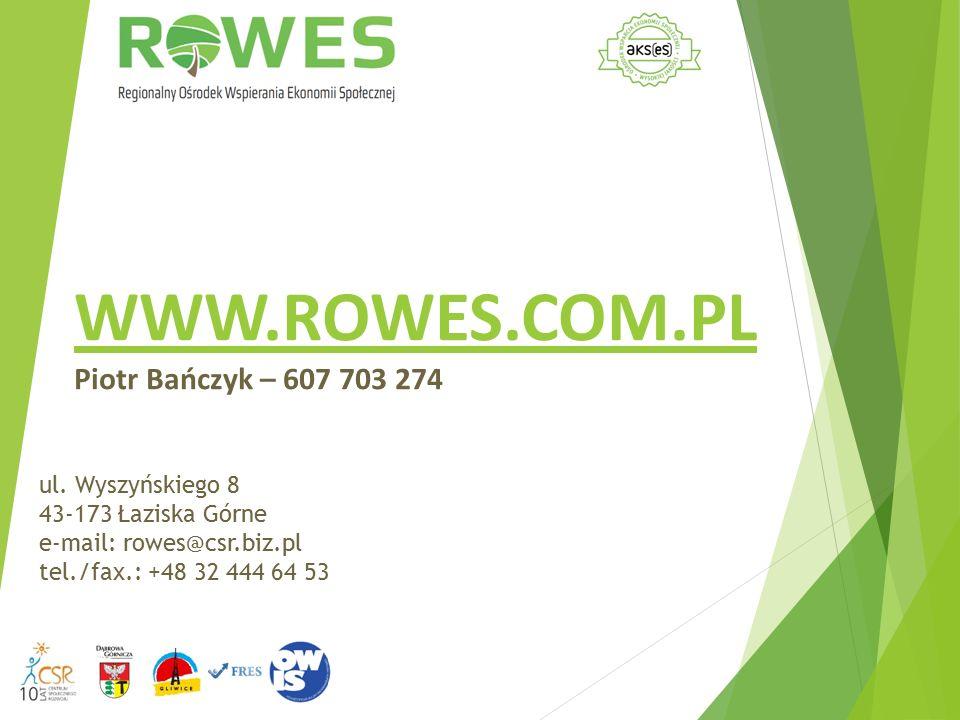 WWW.ROWES.COM.PL Piotr Bańczyk – 607 703 274 ul. Wyszyńskiego 8 43-173 Łaziska Górne e-mail: rowes@csr.biz.pl tel./fax.: +48 32 444 64 53