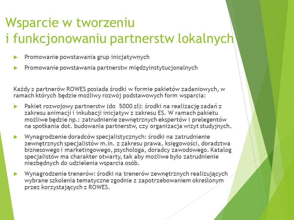 Wsparcie w tworzeniu i funkcjonowaniu partnerstw lokalnych  Promowanie powstawania grup inicjatywnych  Promowanie powstawania partnerstw międzyinstytucjonalnych Każdy z partnerów ROWES posiada środki w formie pakietów zadaniowych, w ramach których będzie możliwy rozwój podstawowych form wsparcia:  Pakiet rozwojowy partnerstw (do 5000 zł): środki na realizację zadań z zakresu animacji i inkubacji inicjatyw z zakresu ES.