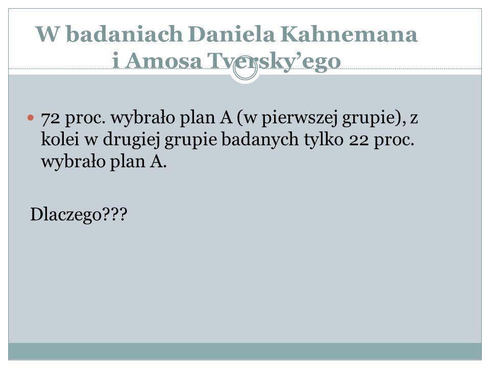 W badaniach Daniela Kahnemana i Amosa Tversky'ego 72 proc. wybrało plan A (w pierwszej grupie), z kolei w drugiej grupie badanych tylko 22 proc. wybra
