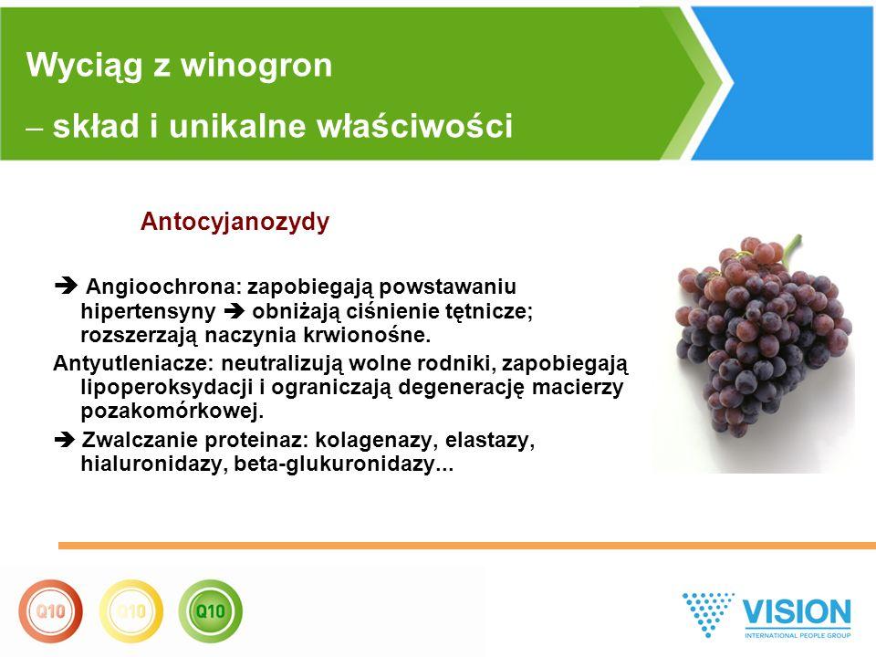 Antocyjanozydy  Angioochrona: zapobiegają powstawaniu hipertensyny  obniżają ciśnienie tętnicze; rozszerzają naczynia krwionośne. Antyutleniacze: ne