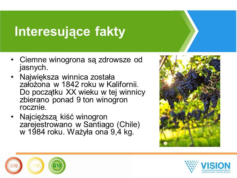 Ciemne winogrona są zdrowsze od jasnych. Największa winnica została założona w 1842 roku w Kalifornii. Do początku XX wieku w tej winnicy zbierano pon