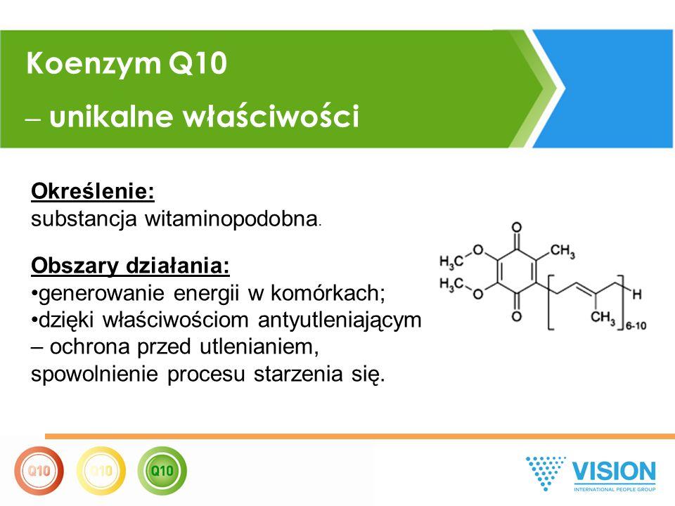 Koenzym Q10 – unikalne właściwości Określenie: substancja witaminopodobna. Obszary działania: generowanie energii w komórkach; dzięki właściwościom an