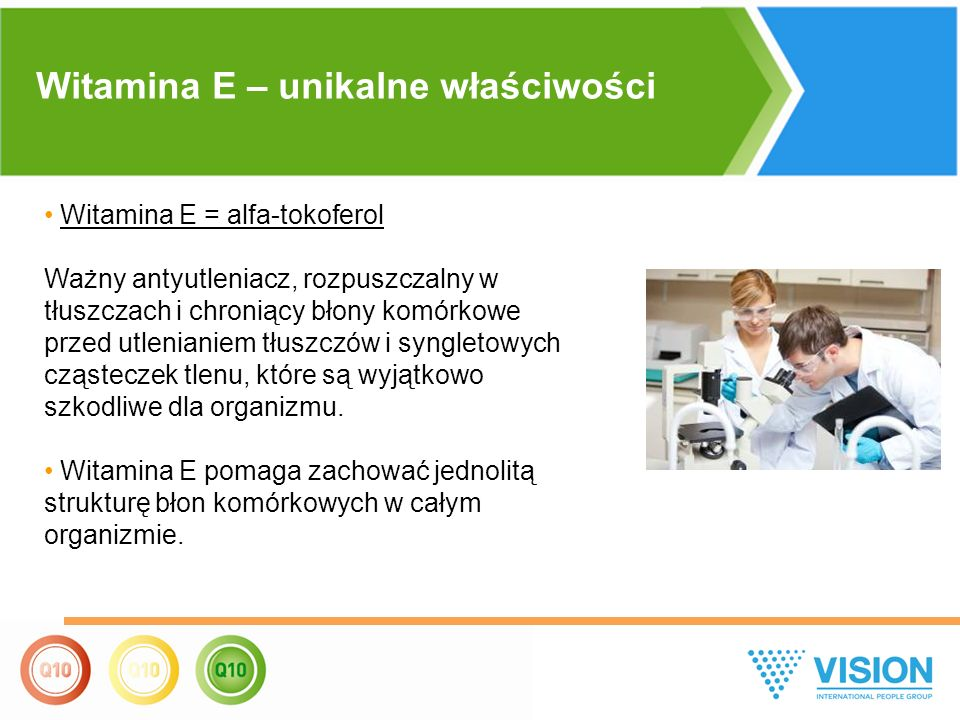 Witamina E = alfa-tokoferol Ważny antyutleniacz, rozpuszczalny w tłuszczach i chroniący błony komórkowe przed utlenianiem tłuszczów i syngletowych cząsteczek tlenu, które są wyjątkowo szkodliwe dla organizmu.