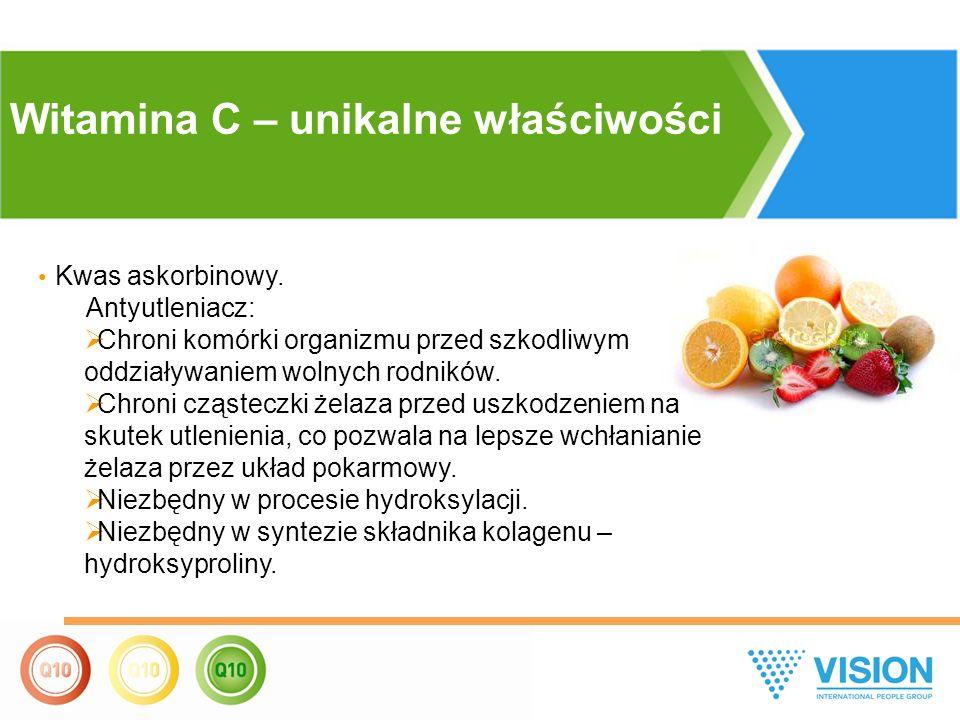 Kwas askorbinowy. Antyutleniacz:  Chroni komórki organizmu przed szkodliwym oddziaływaniem wolnych rodników.  Chroni cząsteczki żelaza przed uszkodz