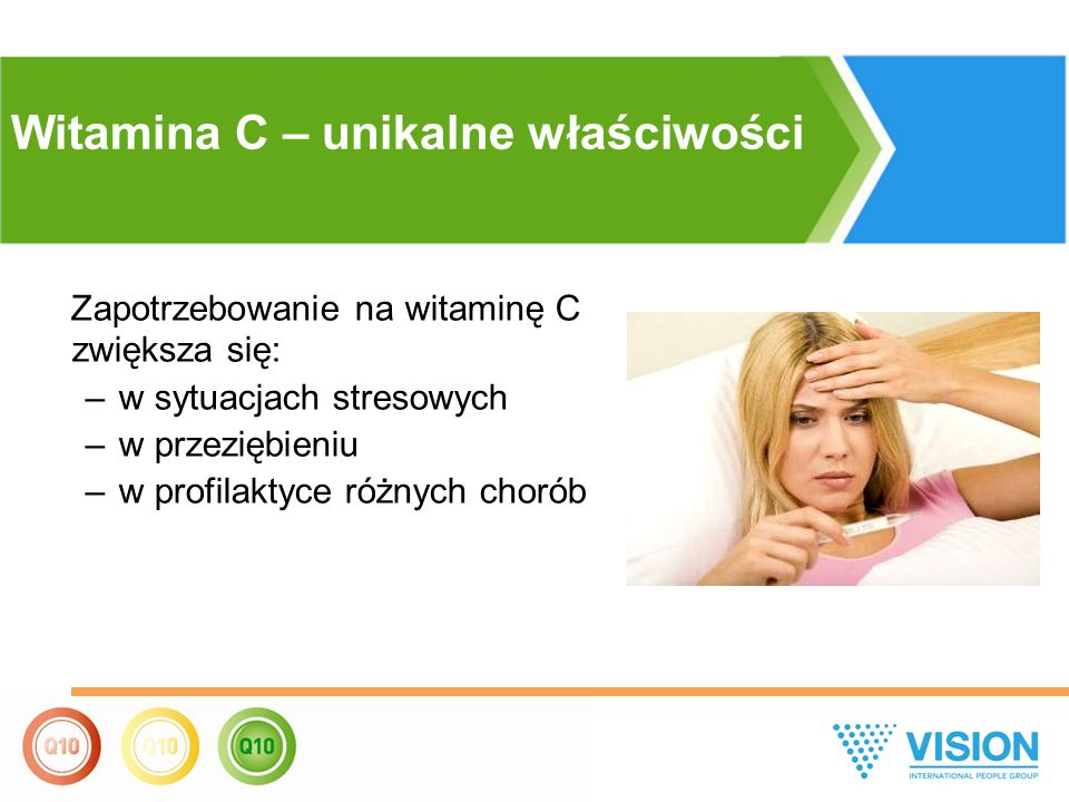 Zapotrzebowanie na witaminę С zwiększa się: –w sytuacjach stresowych –w przeziębieniu –w profilaktyce różnych chorób Witamina C – unikalne właściwości