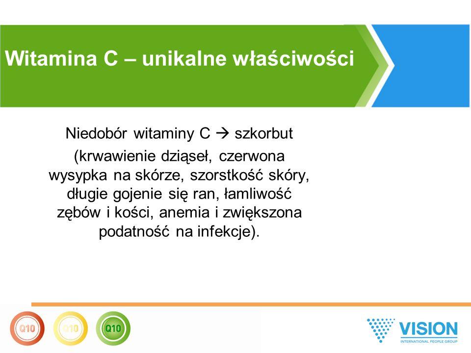 Niedobór witaminy С  szkorbut (krwawienie dziąseł, czerwona wysypka na skórze, szorstkość skóry, długie gojenie się ran, łamliwość zębów i kości, anemia i zwiększona podatność na infekcje).