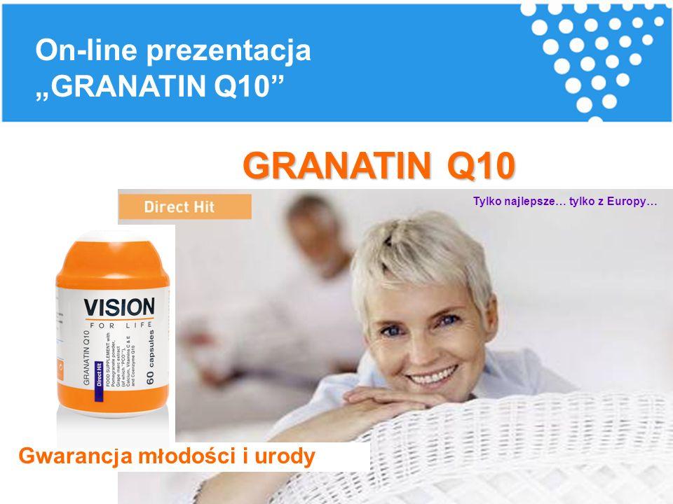 """Gwarancja młodości i urody GRANATIN Q10 Tylko najlepsze… tylko z Europy… On-line prezentacja """"GRANATIN Q10"""