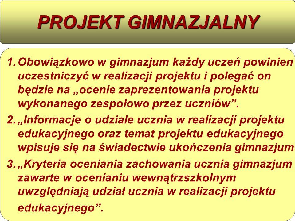"""1. 1.Obowiązkowo w gimnazjum każdy uczeń powinien uczestniczyć w realizacji projektu i polegać on będzie na """"ocenie zaprezentowania projektu wykonaneg"""