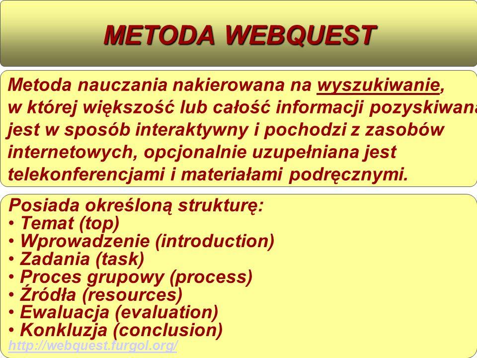 Metoda nauczania nakierowana na wyszukiwanie, w której większość lub całość informacji pozyskiwana jest w sposób interaktywny i pochodzi z zasobów internetowych, opcjonalnie uzupełniana jest telekonferencjami i materiałami podręcznymi.