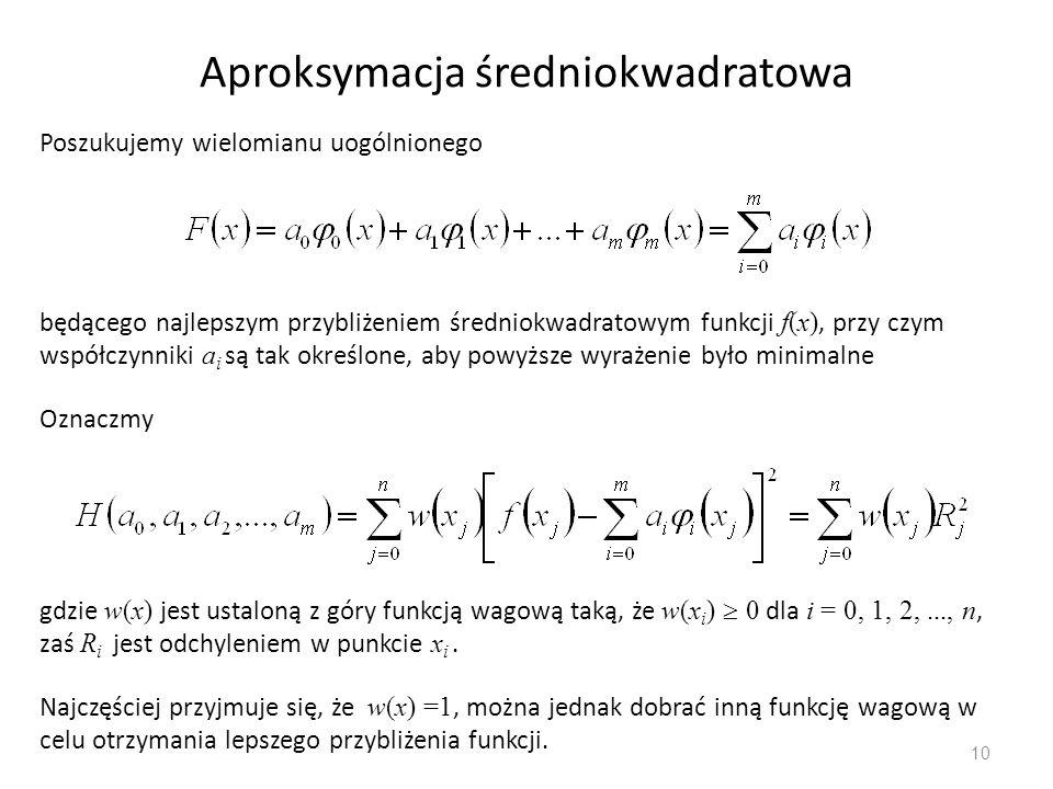 10 Aproksymacja średniokwadratowa Poszukujemy wielomianu uogólnionego będącego najlepszym przybliżeniem średniokwadratowym funkcji f(x), przy czym wsp