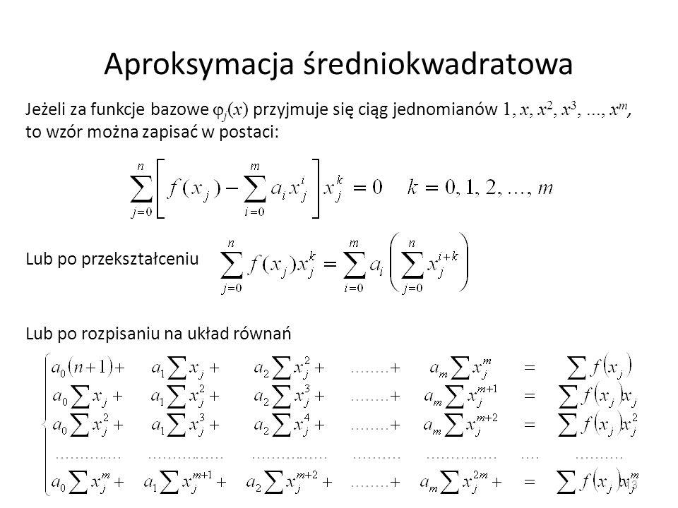 13 Aproksymacja średniokwadratowa Jeżeli za funkcje bazowe  j (x) przyjmuje się ciąg jednomianów 1, x, x 2, x 3,..., x m, to wzór można zapisać w pos