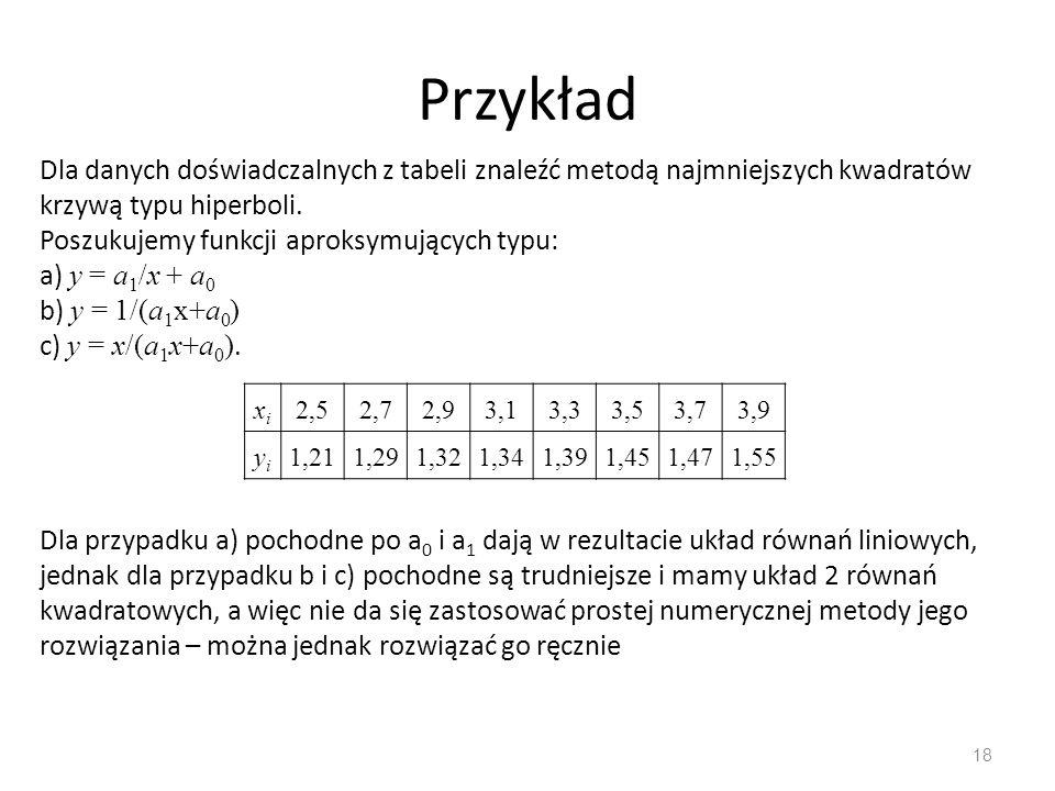 18 Przykład xixi 2,52,72,93,13,33,53,73,9 yiyi 1,211,291,321,341,391,451,471,55 Dla danych doświadczalnych z tabeli znaleźć metodą najmniejszych kwadr