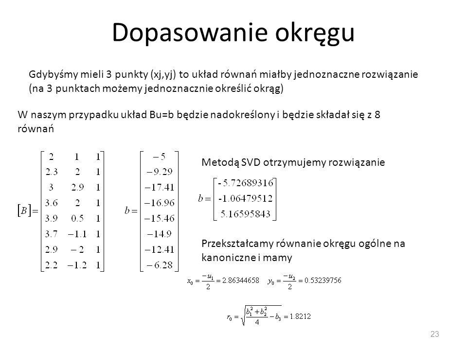 Dopasowanie okręgu 23 W naszym przypadku układ Bu=b będzie nadokreślony i będzie składał się z 8 równań Gdybyśmy mieli 3 punkty (xj,yj) to układ równa