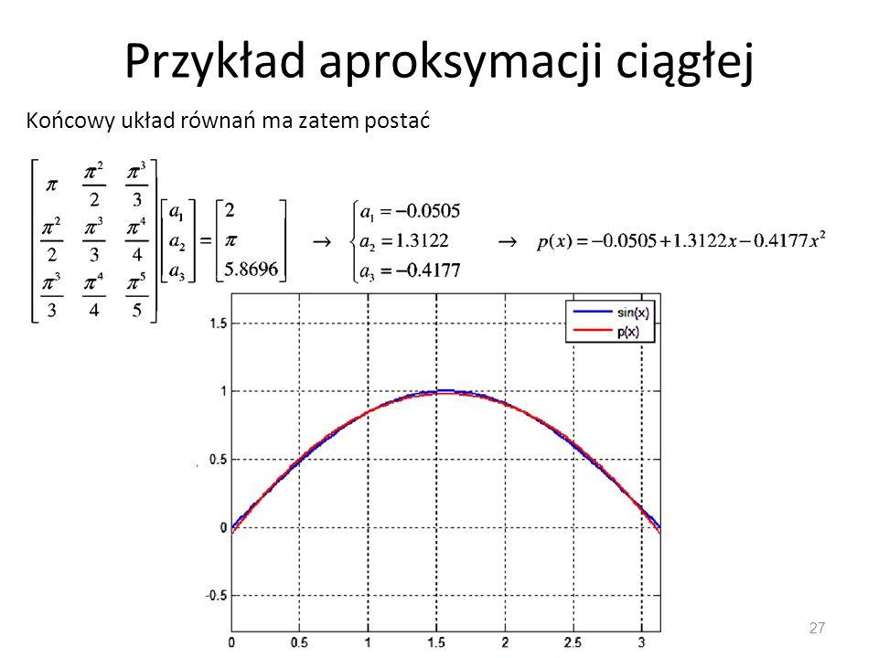 Przykład aproksymacji ciągłej 27 Końcowy układ równań ma zatem postać