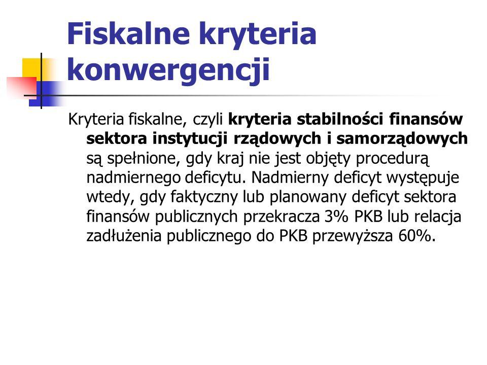 Fiskalne kryteria konwergencji Kryteria fiskalne, czyli kryteria stabilności finansów sektora instytucji rządowych i samorządowych są spełnione, gdy kraj nie jest objęty procedurą nadmiernego deficytu.