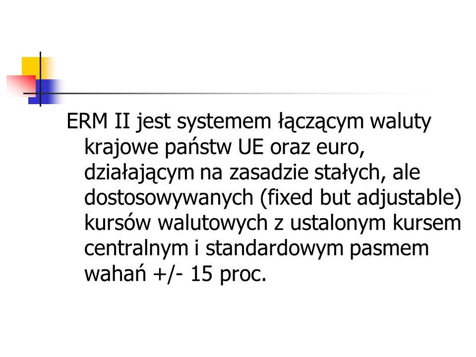ERM II jest systemem łączącym waluty krajowe państw UE oraz euro, działającym na zasadzie stałych, ale dostosowywanych (fixed but adjustable) kursów walutowych z ustalonym kursem centralnym i standardowym pasmem wahań +/- 15 proc.