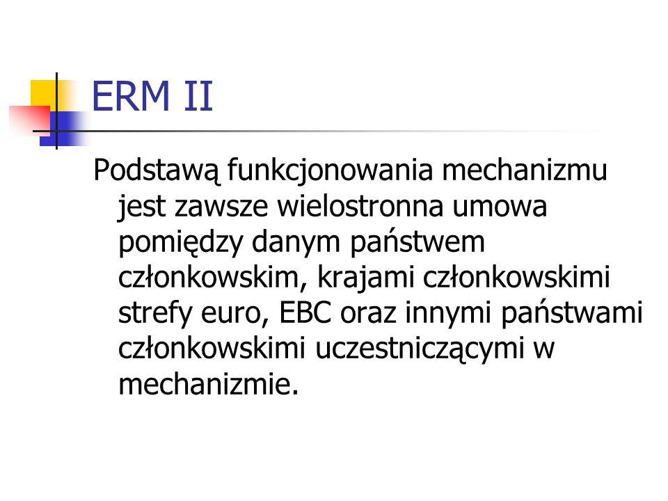 ERM II Podstawą funkcjonowania mechanizmu jest zawsze wielostronna umowa pomiędzy danym państwem członkowskim, krajami członkowskimi strefy euro, EBC oraz innymi państwami członkowskimi uczestniczącymi w mechanizmie.