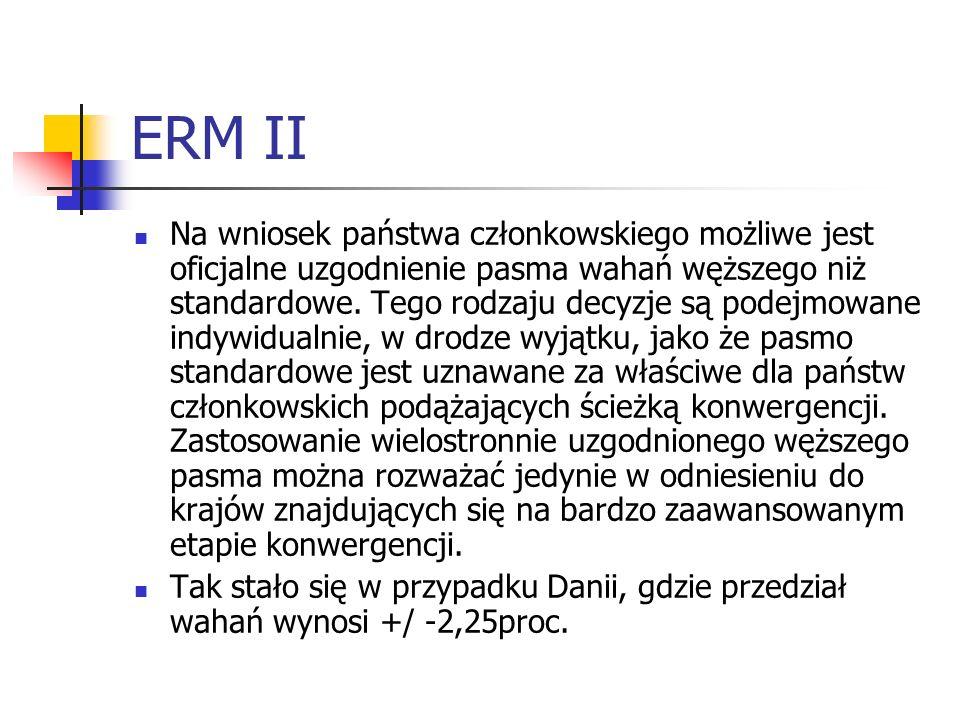 ERM II Na wniosek państwa członkowskiego możliwe jest oficjalne uzgodnienie pasma wahań węższego niż standardowe.