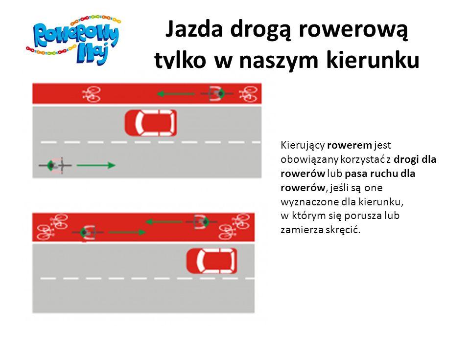 Jazda chodnikiem opiekuje się on osobą w wieku do lat 10 kierującą rowerem szerokość chodnika wzdłuż drogi, po której ruch pojazdów jest dozwolony z prędkością większą niż 50 km/h, wynosi co najmniej 2 m i brakuje wydzielonej drogi dla rowerów lub pasa ruchu dla rowerów warunki pogodowe zagrażają bezpieczeństwu rowerzysty na jezdni (śnieg, silny wiatr, ulewa, gołoledź, gęsta mgła) Kierujący rowerem, korzystając z chodnika lub drogi dla pieszych, jest obowiązany jechać powoli, zachować szczególną ostrożność i ustępować miejsca pieszym.