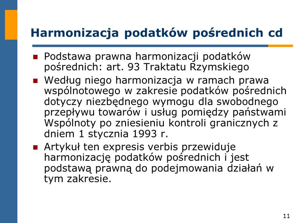 11 Harmonizacja podatków pośrednich cd Podstawa prawna harmonizacji podatków pośrednich: art.