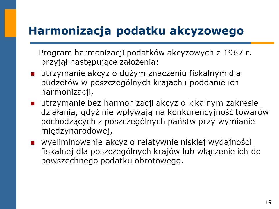 19 Harmonizacja podatku akcyzowego Program harmonizacji podatków akcyzowych z 1967 r.