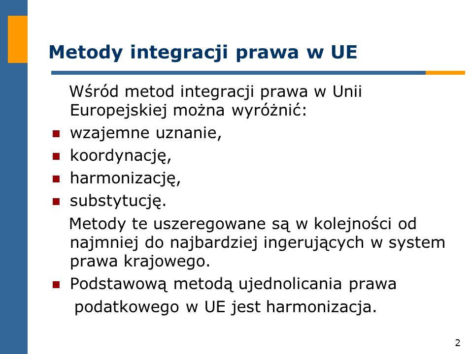 2 Metody integracji prawa w UE Wśród metod integracji prawa w Unii Europejskiej można wyróżnić: wzajemne uznanie, koordynację, harmonizację, substytucję.