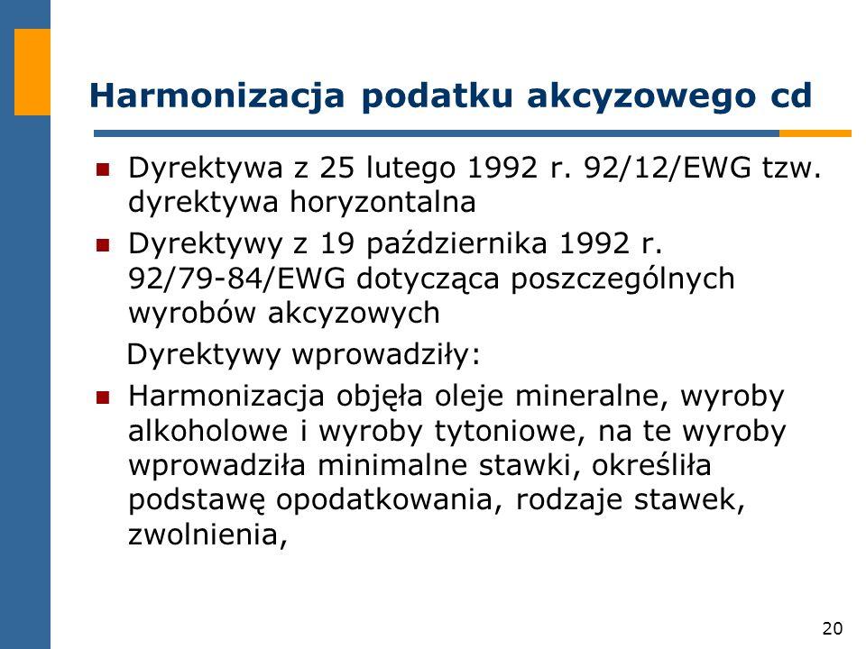 20 Harmonizacja podatku akcyzowego cd Dyrektywa z 25 lutego 1992 r.