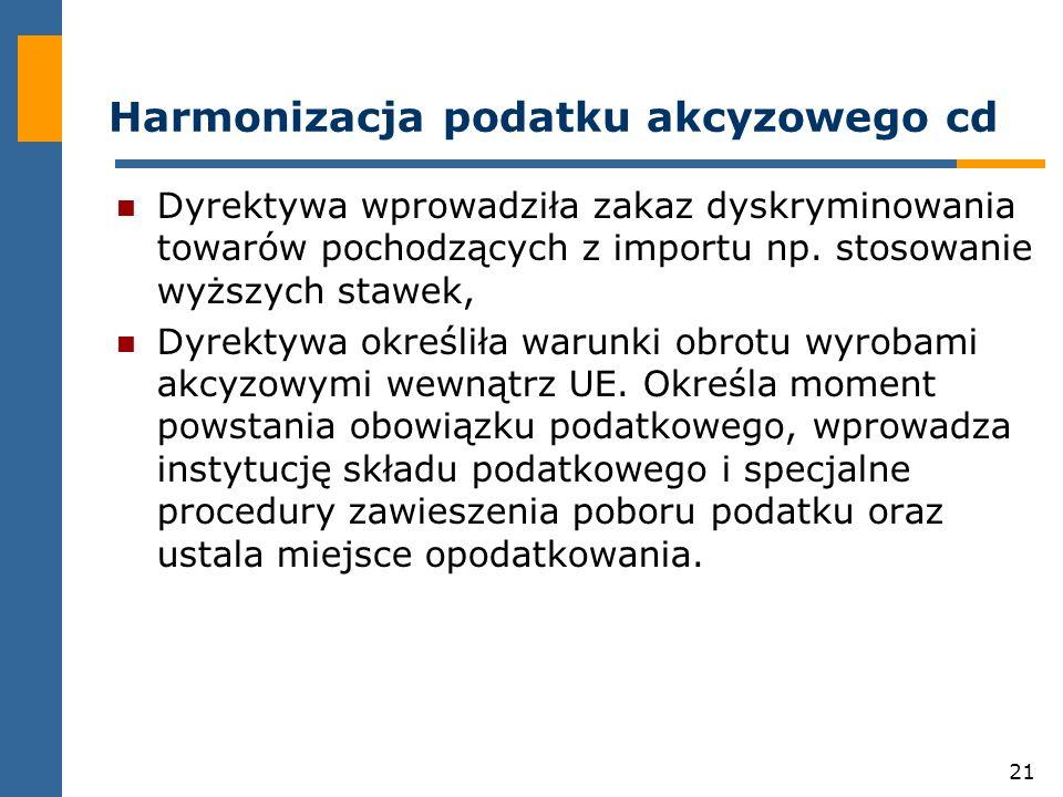 21 Harmonizacja podatku akcyzowego cd Dyrektywa wprowadziła zakaz dyskryminowania towarów pochodzących z importu np.