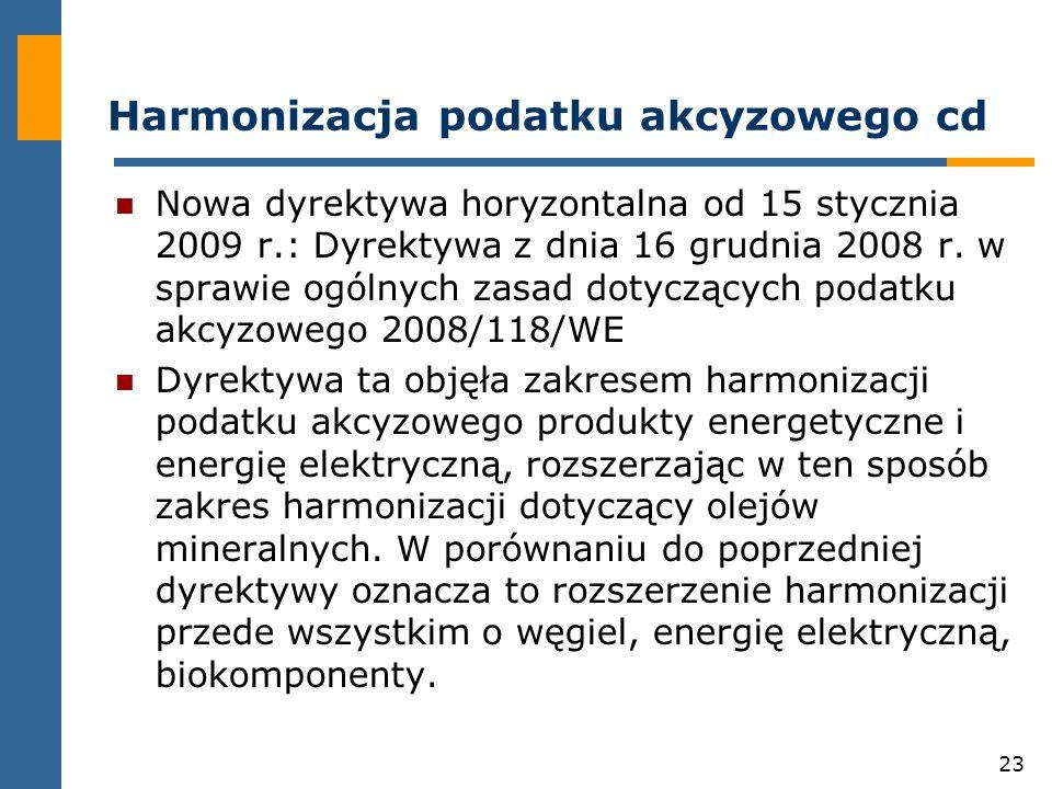 23 Harmonizacja podatku akcyzowego cd Nowa dyrektywa horyzontalna od 15 stycznia 2009 r.: Dyrektywa z dnia 16 grudnia 2008 r.