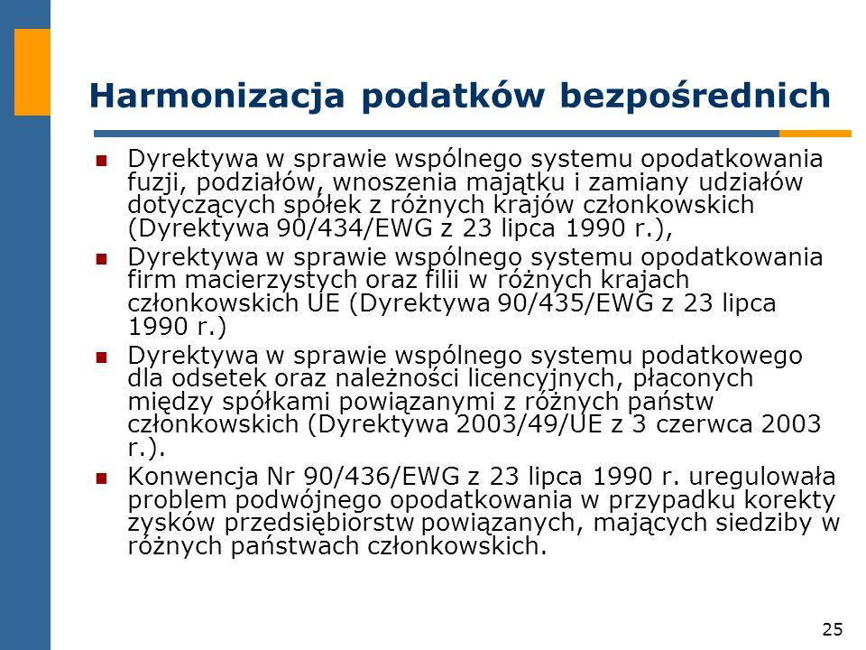 25 Harmonizacja podatków bezpośrednich Dyrektywa w sprawie wspólnego systemu opodatkowania fuzji, podziałów, wnoszenia majątku i zamiany udziałów dotyczących spółek z różnych krajów członkowskich (Dyrektywa 90/434/EWG z 23 lipca 1990 r.), Dyrektywa w sprawie wspólnego systemu opodatkowania firm macierzystych oraz filii w różnych krajach członkowskich UE (Dyrektywa 90/435/EWG z 23 lipca 1990 r.) Dyrektywa w sprawie wspólnego systemu podatkowego dla odsetek oraz należności licencyjnych, płaconych między spółkami powiązanymi z różnych państw członkowskich (Dyrektywa 2003/49/UE z 3 czerwca 2003 r.).