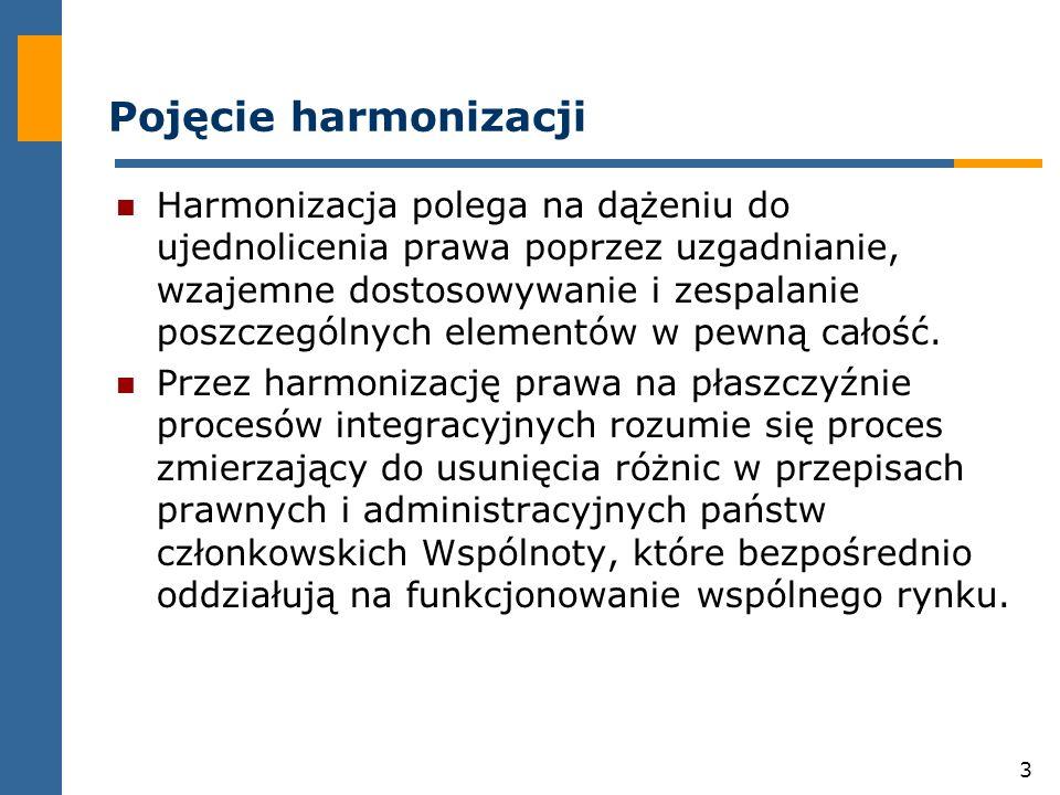 3 Pojęcie harmonizacji Harmonizacja polega na dążeniu do ujednolicenia prawa poprzez uzgadnianie, wzajemne dostosowywanie i zespalanie poszczególnych elementów w pewną całość.