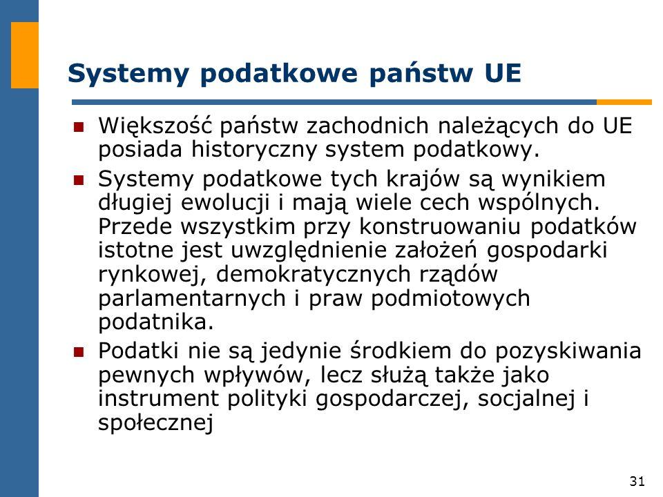 31 Systemy podatkowe państw UE Większość państw zachodnich należących do UE posiada historyczny system podatkowy.