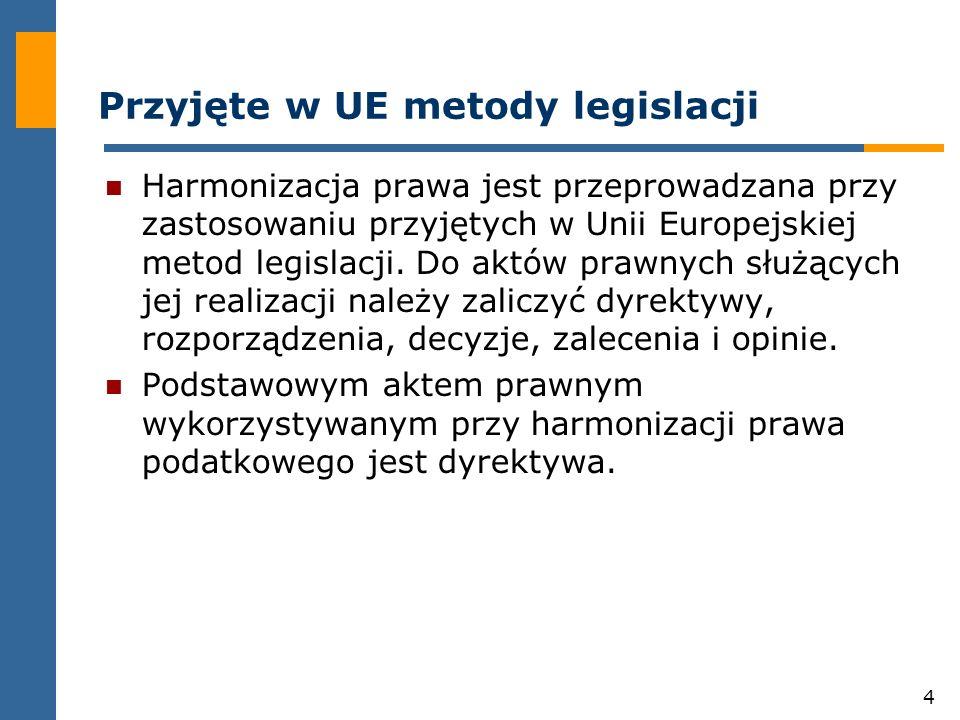 4 Przyjęte w UE metody legislacji Harmonizacja prawa jest przeprowadzana przy zastosowaniu przyjętych w Unii Europejskiej metod legislacji.