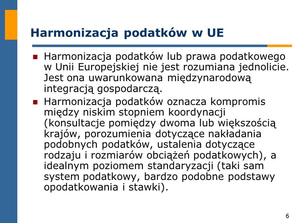 6 Harmonizacja podatków w UE Harmonizacja podatków lub prawa podatkowego w Unii Europejskiej nie jest rozumiana jednolicie.