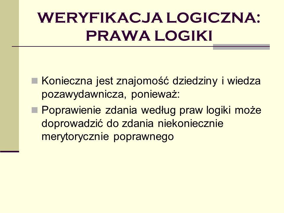 WERYFIKACJA LOGICZNA: PRAWA LOGIKI Konieczna jest znajomość dziedziny i wiedza pozawydawnicza, ponieważ: Poprawienie zdania według praw logiki może doprowadzić do zdania niekoniecznie merytorycznie poprawnego