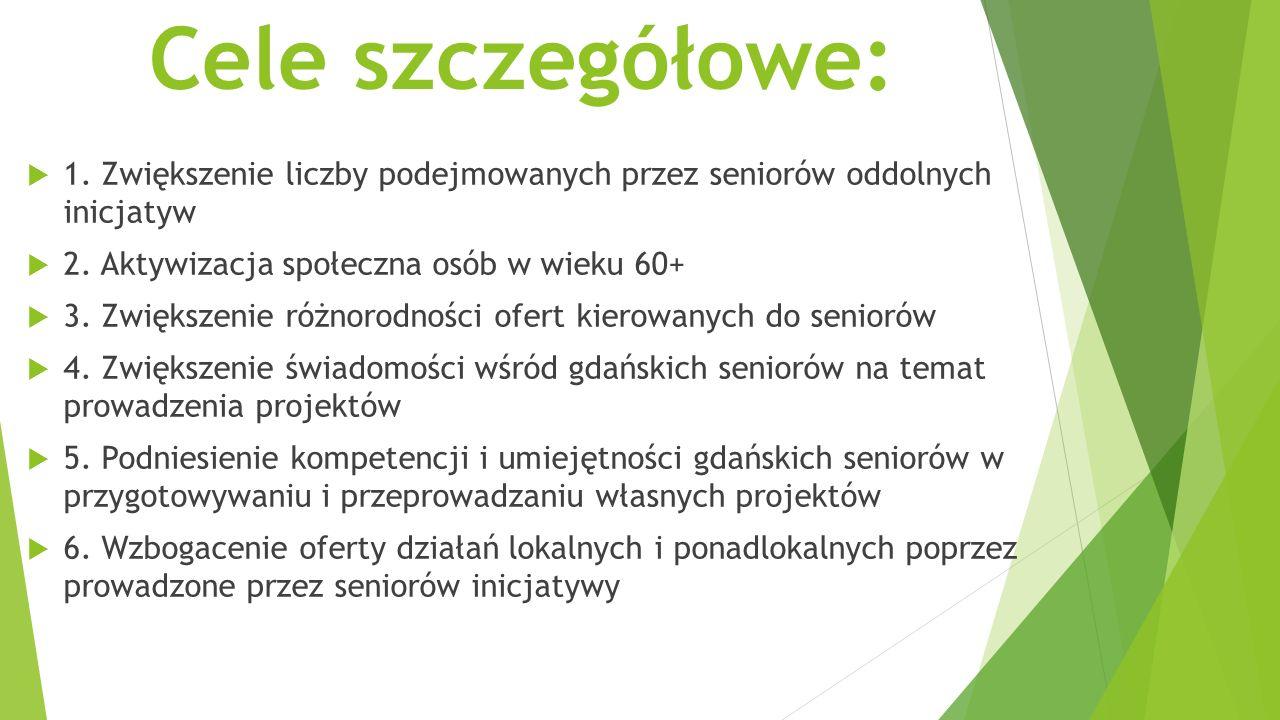 Cele szczegółowe:  1. Zwiększenie liczby podejmowanych przez seniorów oddolnych inicjatyw  2.