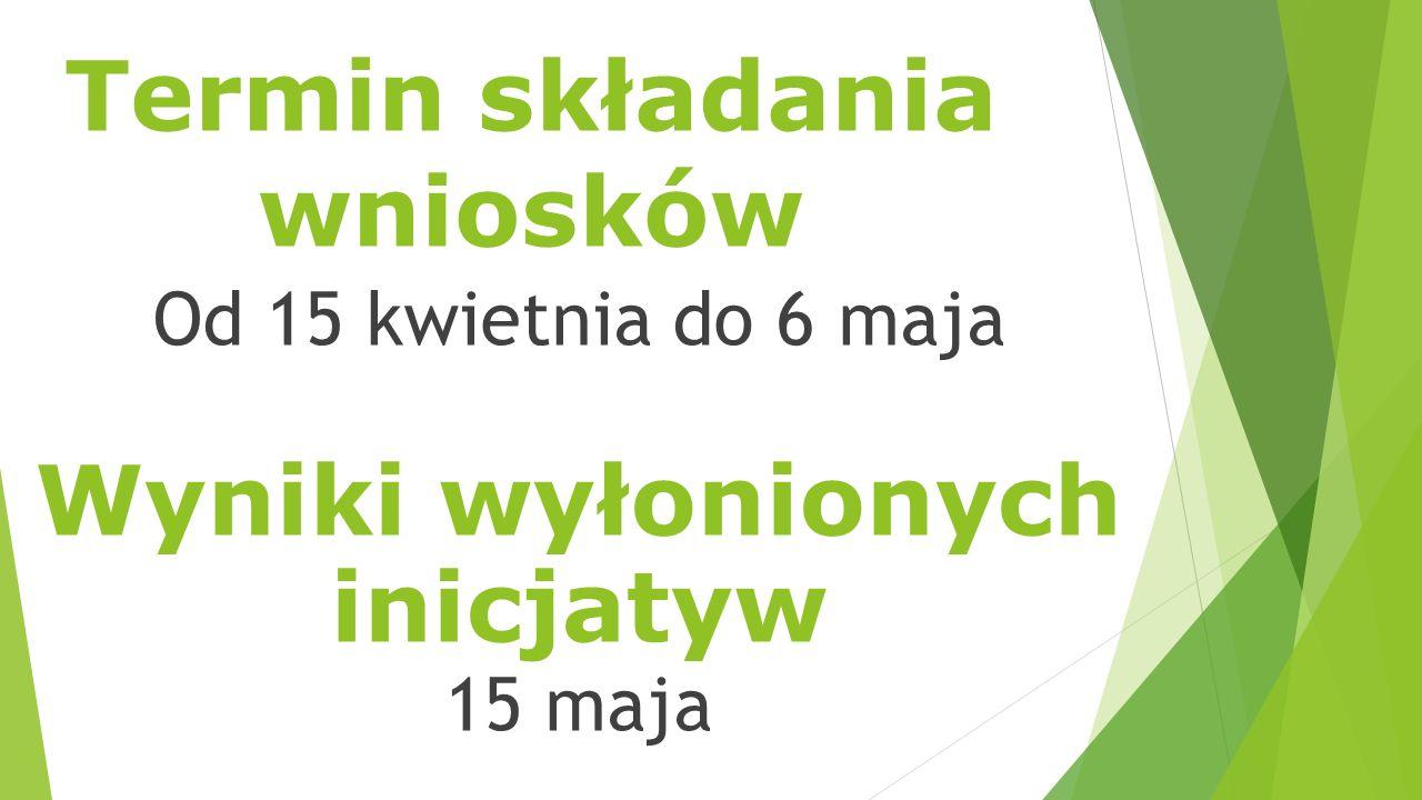 Termin składania wniosków Od 15 kwietnia do 6 maja Wyniki wyłonionych inicjatyw 15 maja