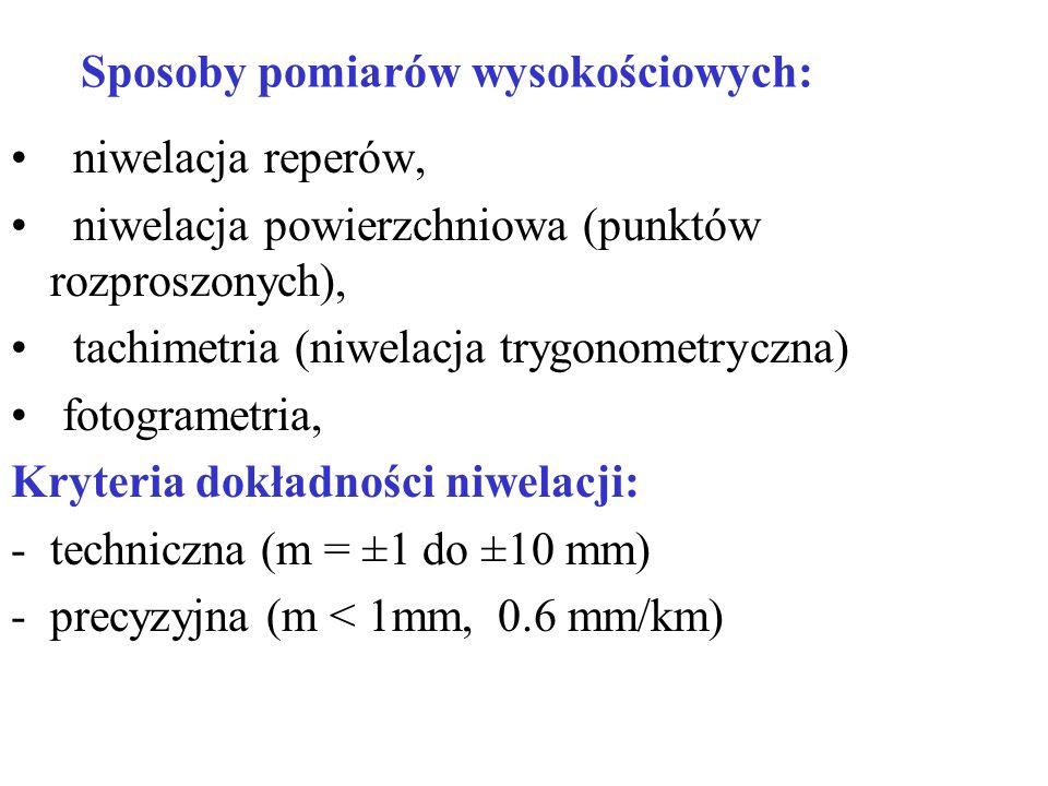 Sposoby pomiarów wysokościowych: niwelacja reperów, niwelacja powierzchniowa (punktów rozproszonych), tachimetria (niwelacja trygonometryczna) fotogra