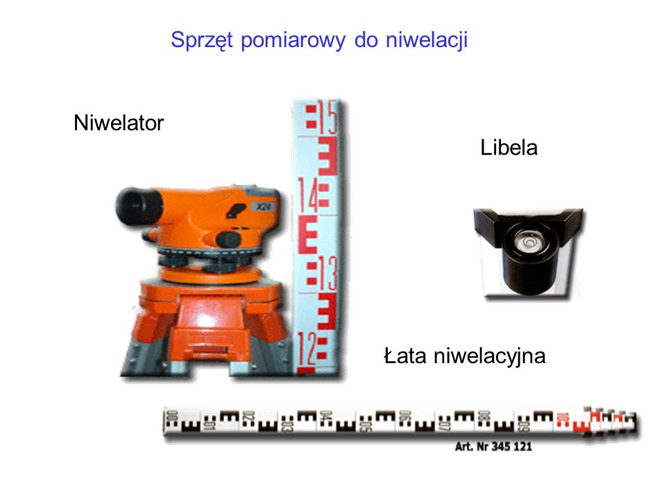 Libela Sprzęt pomiarowy do niwelacji Łata niwelacyjna Niwelator