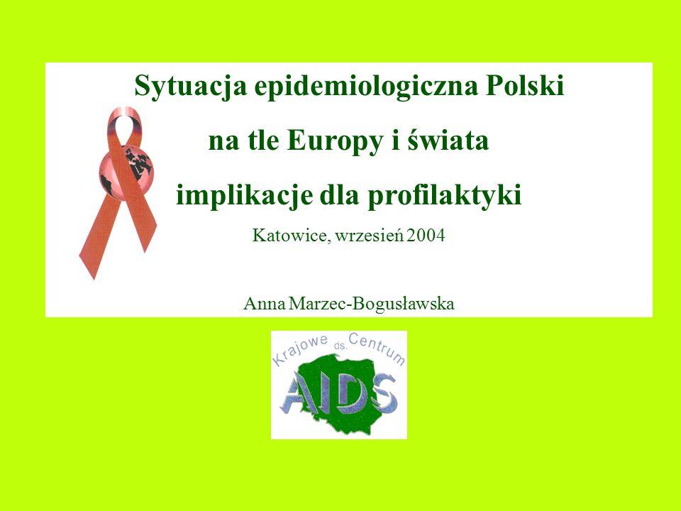 Sytuacja epidemiologiczna Polski na tle Europy i świata implikacje dla profilaktyki Katowice, wrzesień 2004 Anna Marzec-Bogusławska