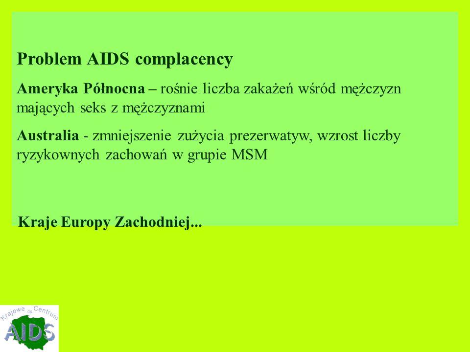 Problem AIDS complacency Ameryka Północna – rośnie liczba zakażeń wśród mężczyzn mających seks z mężczyznami Australia - zmniejszenie zużycia prezerwatyw, wzrost liczby ryzykownych zachowań w grupie MSM Kraje Europy Zachodniej...