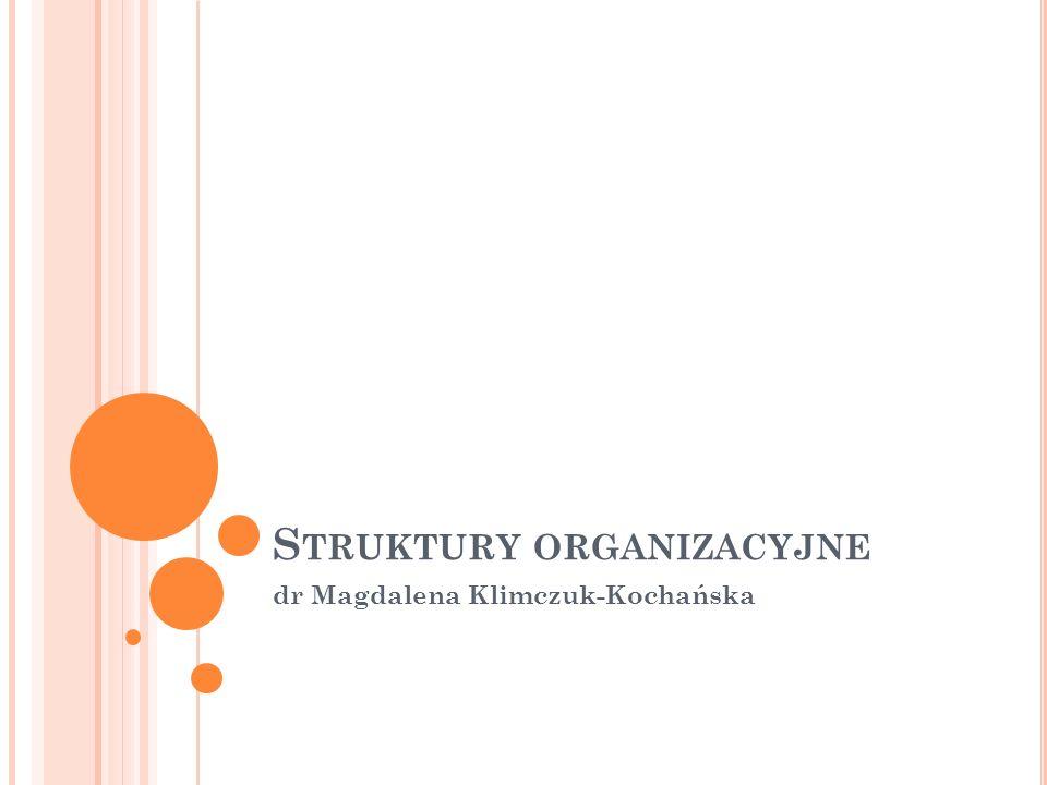 S TRUKTURY ORGANIZACYJNE dr Magdalena Klimczuk-Kochańska