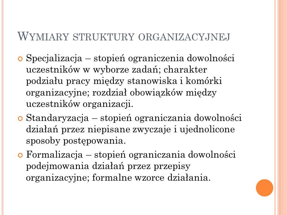 W YMIARY STRUKTURY ORGANIZACYJNEJ Specjalizacja – stopień ograniczenia dowolności uczestników w wyborze zadań; charakter podziału pracy między stanowiska i komórki organizacyjne; rozdział obowiązków między uczestników organizacji.