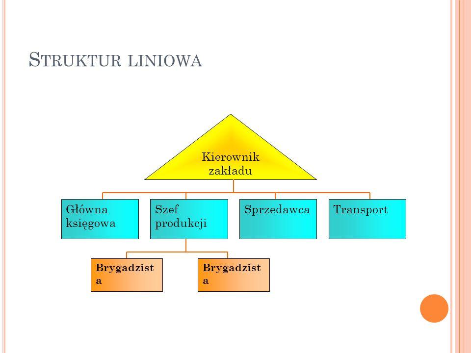 S TRUKTUR LINIOWA Główna księgowa Szef produkcji Sprzedawca Brygadzist a Kierownik zakładu Transport