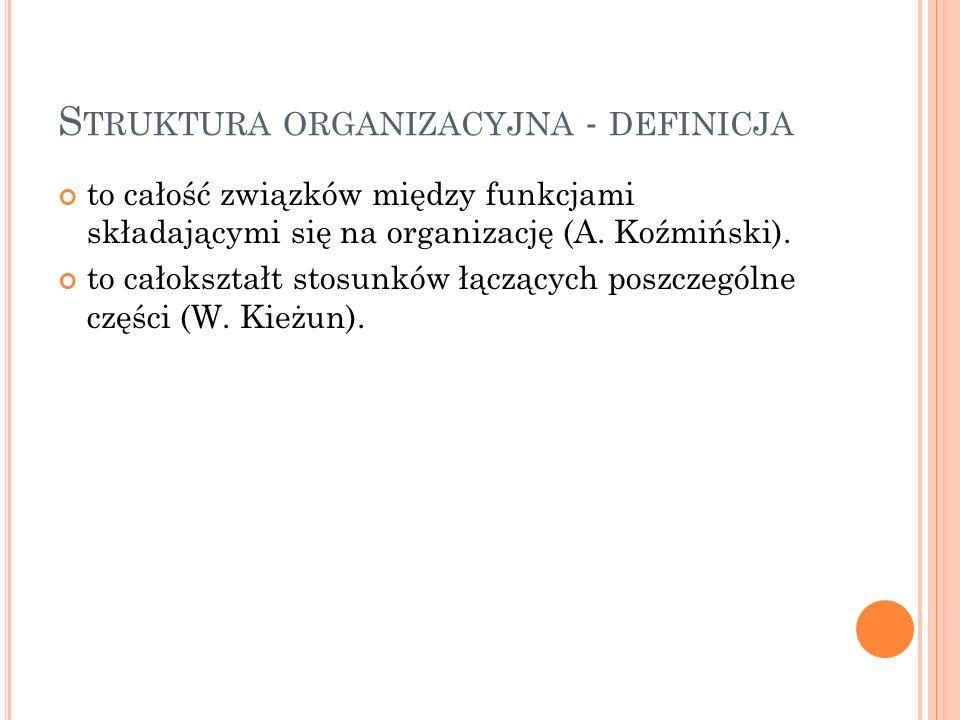 S TRUKTURA ORGANIZACYJNA - DEFINICJA to całość związków między funkcjami składającymi się na organizację (A.