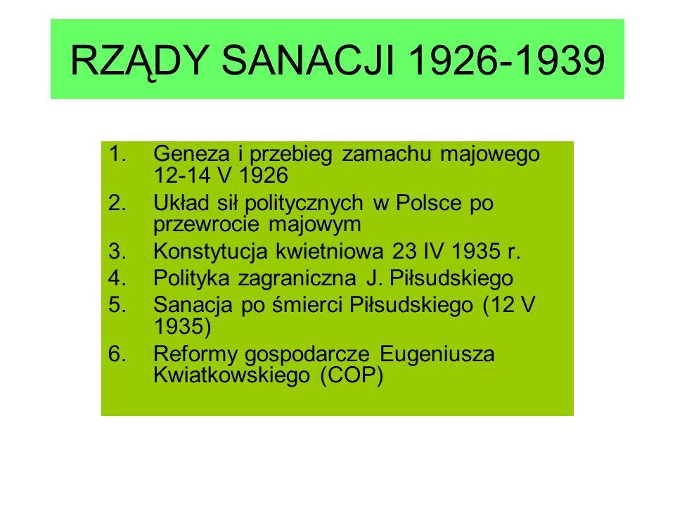 RZĄDY SANACJI 1926-1939 1.Geneza i przebieg zamachu majowego 12-14 V 1926 2.Układ sił politycznych w Polsce po przewrocie majowym 3.Konstytucja kwietniowa 23 IV 1935 r.
