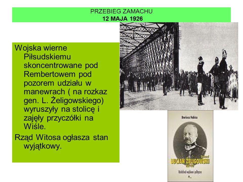 PRZEBIEG ZAMACHU 12 MAJA 1926 Wojska wierne Piłsudskiemu skoncentrowane pod Rembertowem pod pozorem udziału w manewrach ( na rozkaz gen.