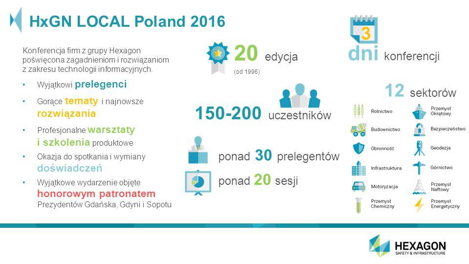 HxGN LOCAL Poland 2016 Konferencja firm z grupy Hexagon poświęcona zagadnieniom i rozwiązaniom z zakresu technologii informacyjnych.